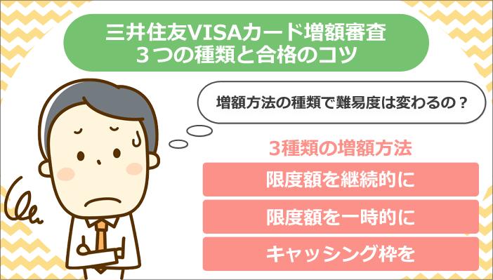三井住友VISAカード増額審査3つの種類と合格のコツ