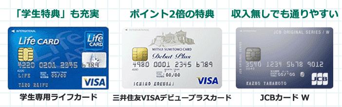 審査が甘い学生向けクレジットカード