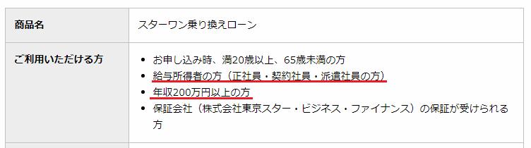東京スター銀行「スターワン乗り換えローン」商品説明