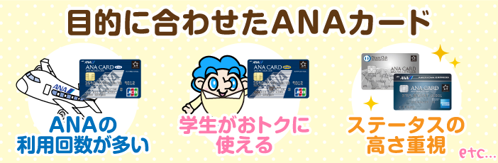 ANAカードの年会費比較と目的別お勧めカード